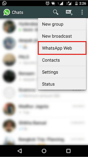 whatsapp web qr code option