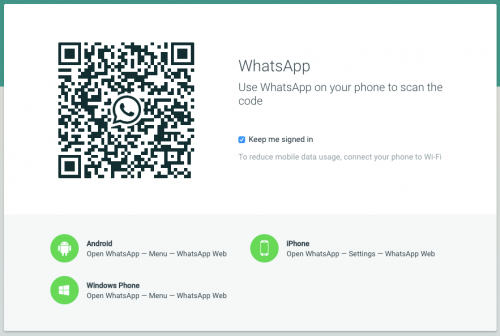 whatsapp web qr code home screen