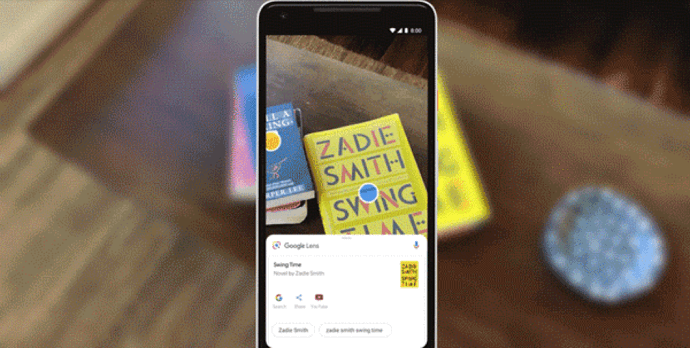 Google Lens scanning a book