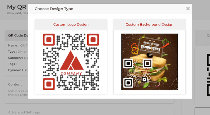 Choose design for QR Code